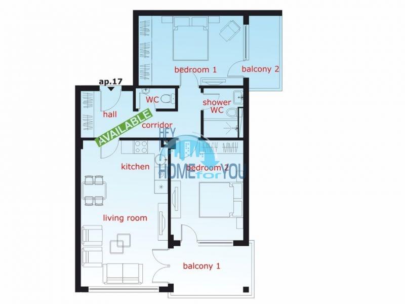 Новая трехкомнатная квартира с мебелью в Святом Власе 22