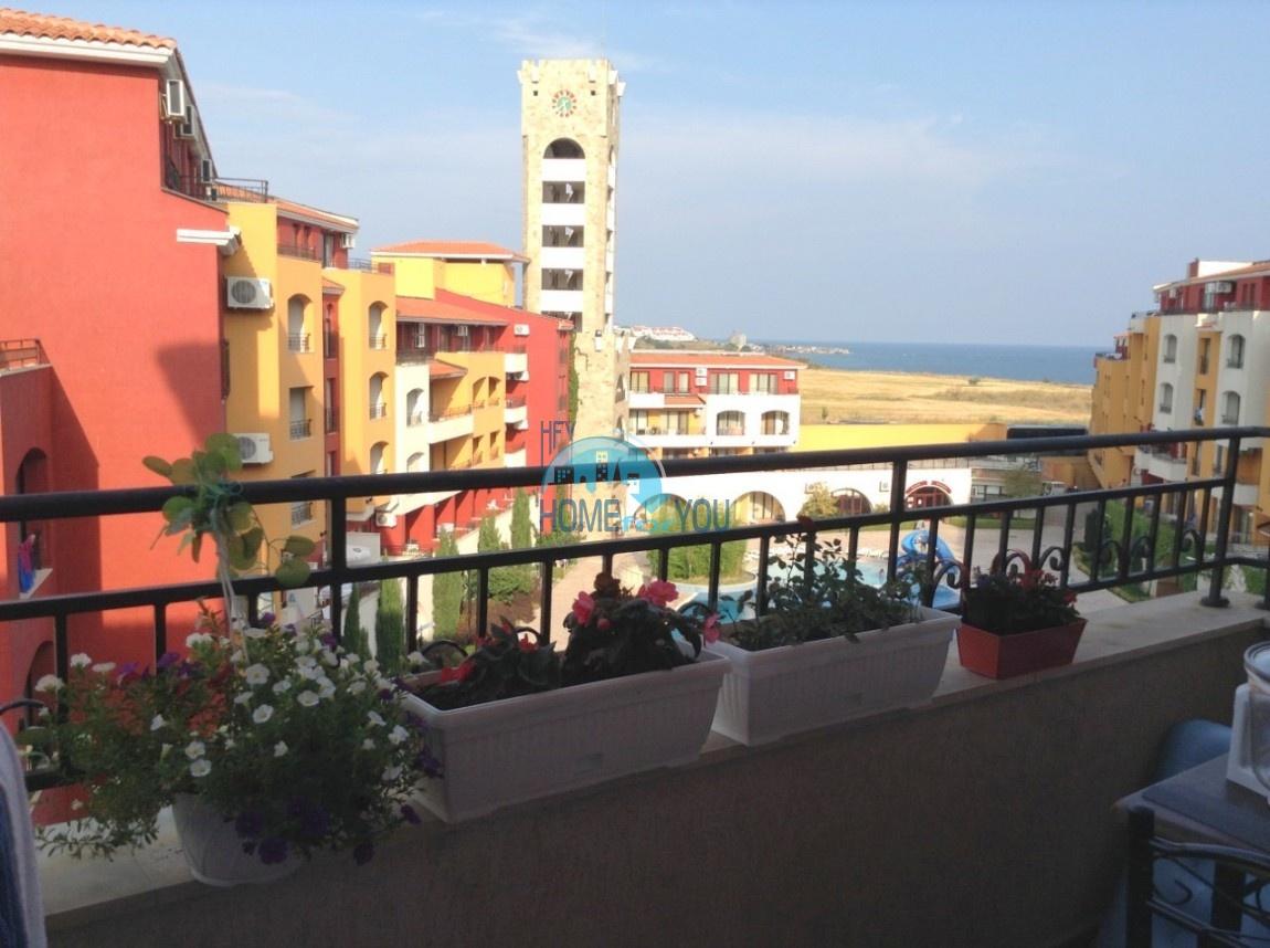 Вид на море! Ахелой, комплекс Марина Кейп. Просторная однокомнатная квартира 53,4 кв.м с мебелью и техникой