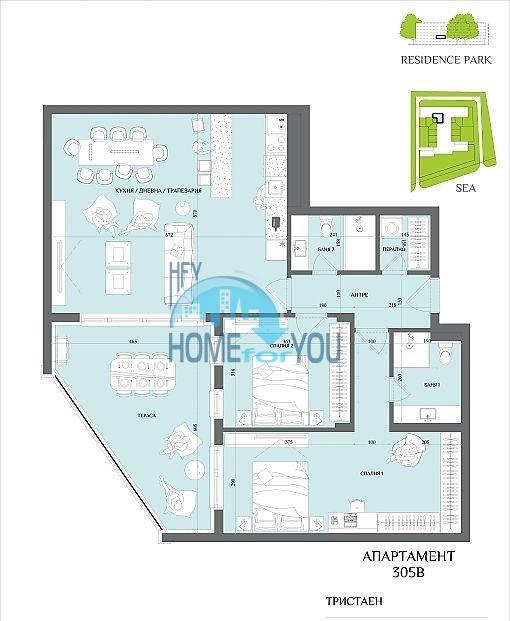 Новая трехкомнатная квартира в Бургасе в квартале Сарафово 5