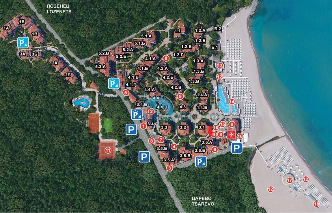 Элитная трехкомнатная квартира с прекрасным видом на море в шикарном Oasis Resort & Spa, Лозенец 31