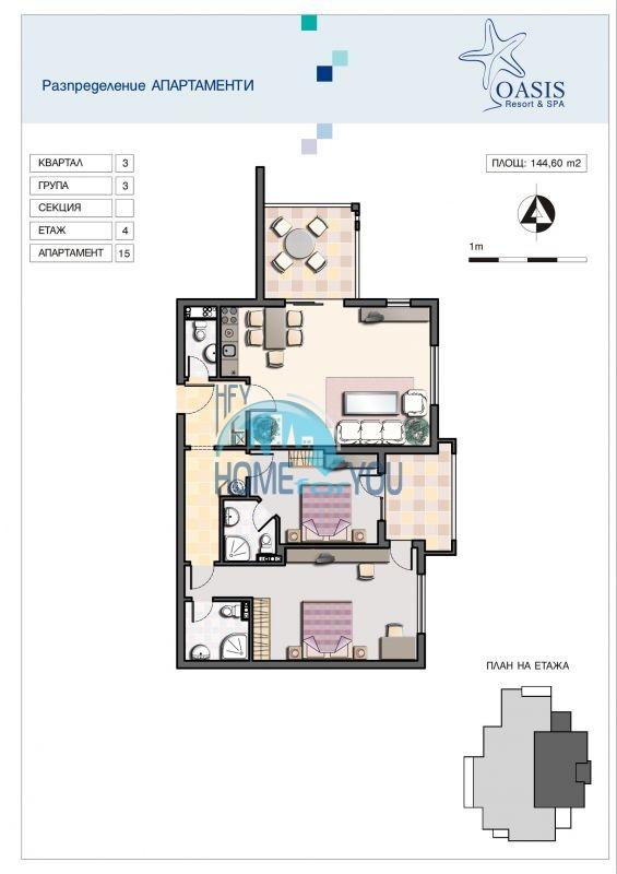 Отличная трехкомнатная квартира с видом на море в Оазисе 31