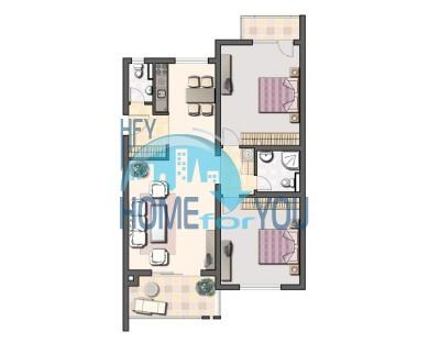 Шикарная трехкомнатная квартира в уникальном комплексе Oasis Resort & Spa на первой линии моря в п. Лозенец 49