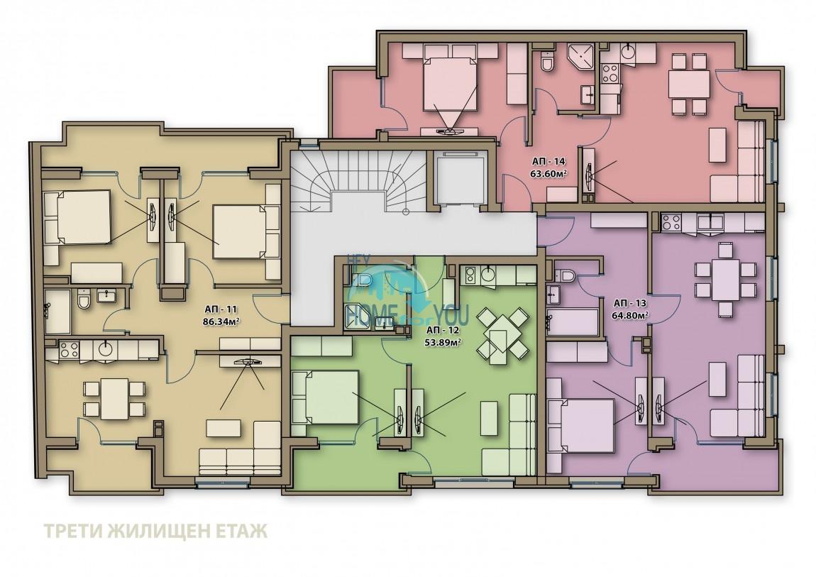Готові квартири під ключ в центрі м. Поморіє - Аглая 8