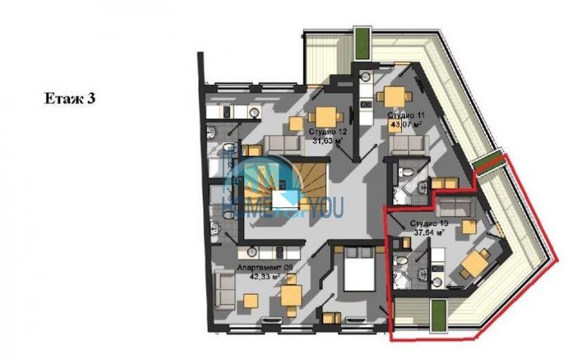Студия в новом жилом доме в центре г. Поморие 14