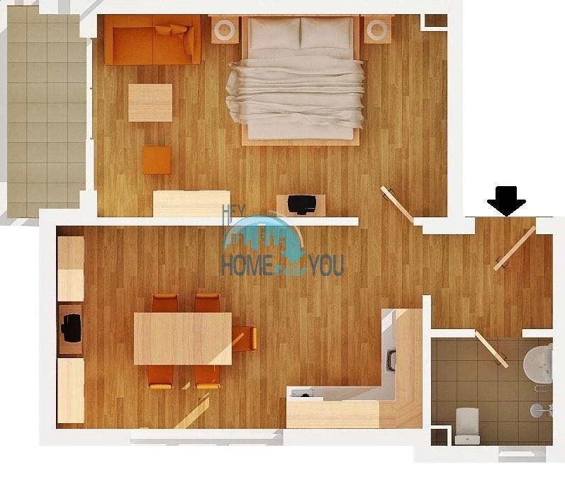 Недорогая двухкомнатная квартира  на курорте Святой Влас 7